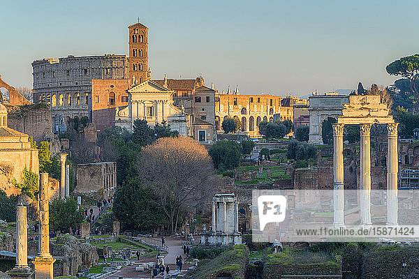 Ruins of Imperial Forum (Fori Imperiali) and Colosseum  UNESCO World Heritage Site  Rome  Lazio  Italy  Europe