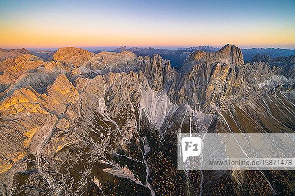 Aerial view of autumn sunset over Torri Del Vajolet  Catinaccio Group and Roda di Vael  Dolomites  South Tyrol  Italy  Europe