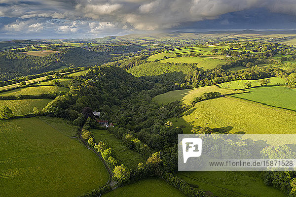 Aerial view by drone of rolling countryside near Brentor in Devon  England  United Kingdom  Europe