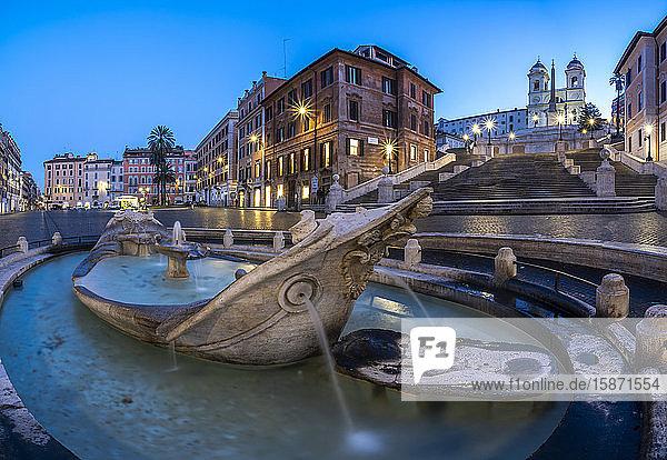 Panoramic of Piazza di Spagna (Spanish Steps)  Barcaccia fountain and Trinita dei Monti  Rome  Lazio  Italy  Europe