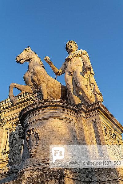 One of the Dioscuri Statue at Campidoglio (Capitoline Hill)  Rome  Lazio  Italy  Europe