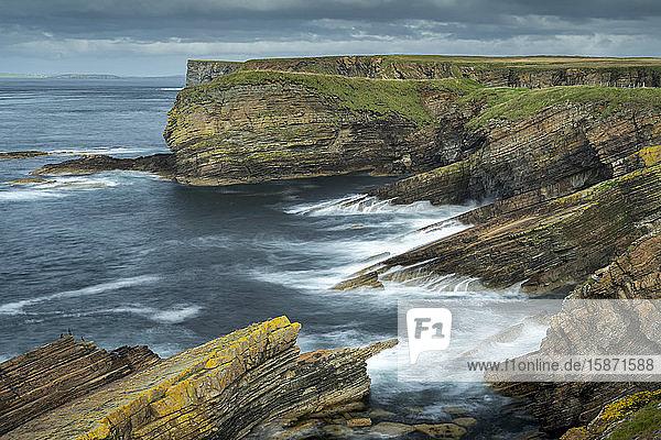 Dramatic layered cliffs at Burwick on South Ronaldsay  Orkney Islands  Scotland  United Kingdom  Europe