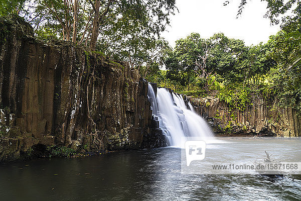 Flowing water of Rochester Falls  Souillac  South Mauritius  Indian Ocean  Africa