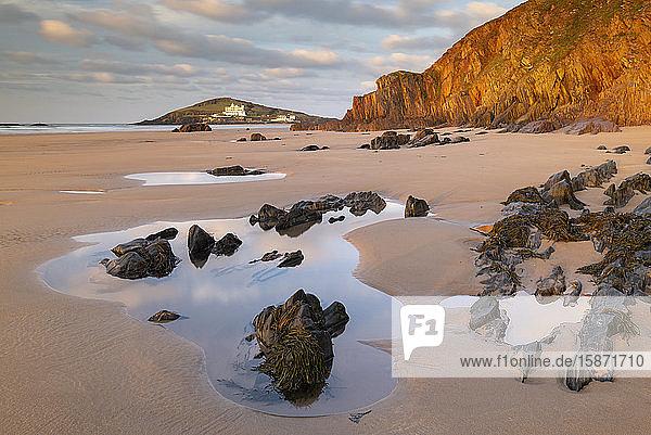 Burgh Island from Bigbury-on-Sea beach in winter  South Hams  Devon  England  United Kingdom  Europe