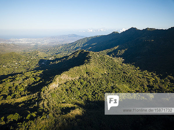 Aerial view by drone of landscape near Minca  Magdalena Department  Caribbean  Colombia  South America