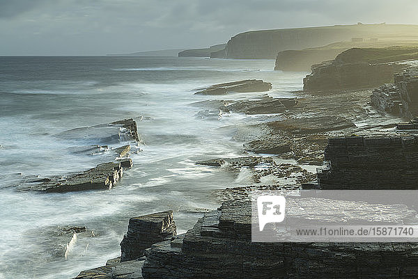 Dramatic coastline near the Brough of Birsay  Orkney  Scotland  United Kingdom  Europe