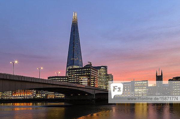 The Shard and London Bridge at sunset  London  England  United Kingdom  Europe