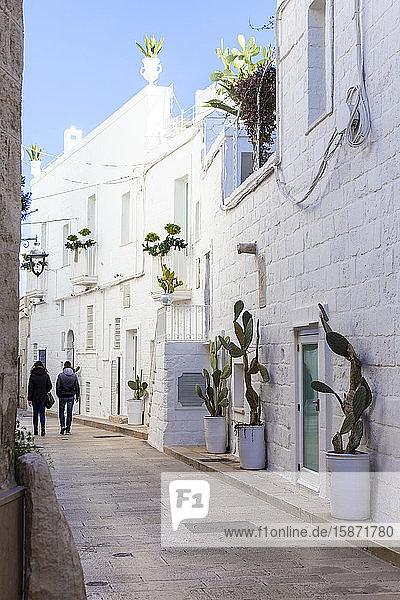 Narrow white street in the historic centre of Monopoli  Apulia  Italy  Europe
