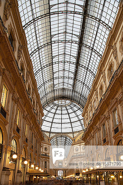 The Galleria Vittorio Emanuele II  an ornate shopping arcade on the Piazza del Duomo  Milan  Lombardy  Italy  Europe