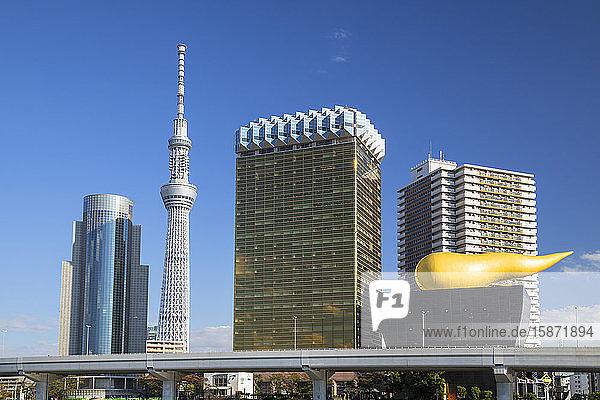 Tokyo Skytree and Asahi Breweries Tower  Tokyo  Honshu  Japan  Asia