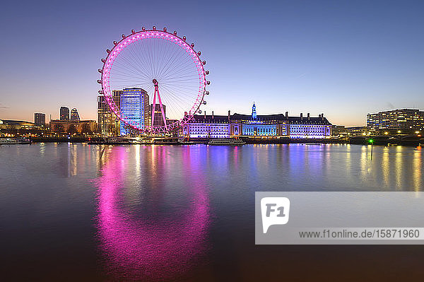 The London Eye  a ferris wheel on the South Bank of the River Thames  London  England  United Kingdom  Europe