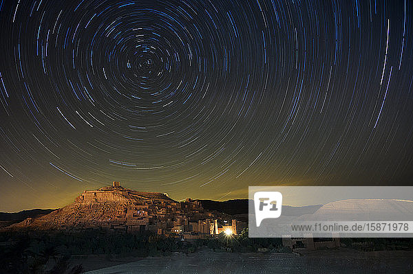 Star trails above The Kasbah Ait-Benhaddou  UNESCO World Heritage Site  Morocco  North Africa  Africa