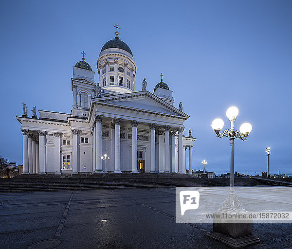 Exterior of Helsinki Cathedral at night  Helsinki  Finland  Europe