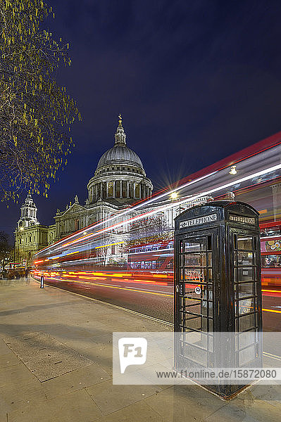 St. Paul's Cathedral at dusk with light trails  London  England  United Kingdom  Europe