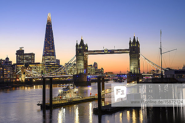 The Shard and Tower Bridge on the River Thames at night  London  England  United Kingdom  Europe