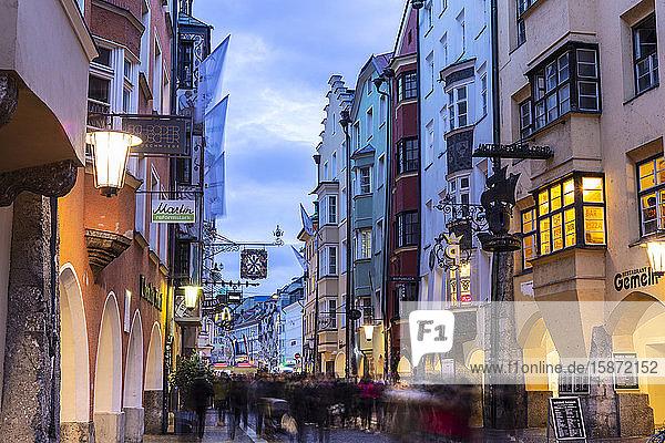 Tourists in the main street of Innsbruck  Tyrol  Austria  Europe