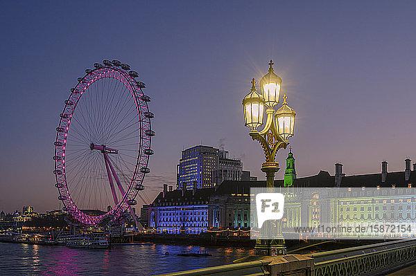 Millennium Wheel (London Eye)  Old County Hall viewed from Westminster Bridge  South Bank  London  England  United Kingdom  Europe