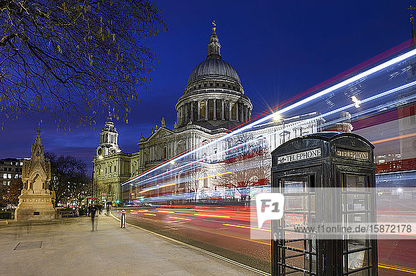St. Paul's Cathedral at dusk with traffic trails  London  England  United Kingdom  Europe
