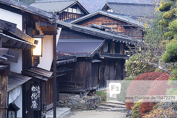 Traditional buildings on Nakasendo Way  Tsumago  Gifu Prefecture  Honshu  Japan  Asia