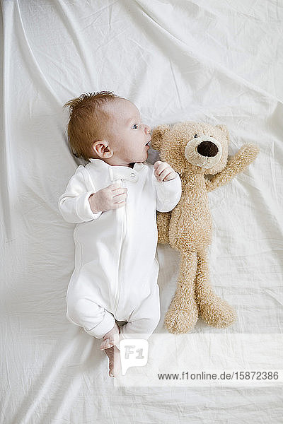 Baby boy (2-5 months) lying on bed with teddy bear Baby boy (2-5 months) lying on bed with teddy bear