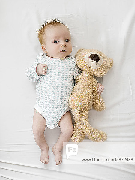 Baby boy (2-5months)lying on bed with teddy bear Baby boy (2-5months)lying on bed with teddy bear