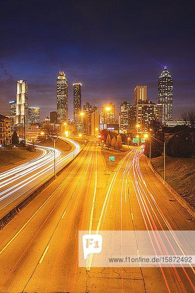 USA  Georgia  AtlantaTraffic on highway at night