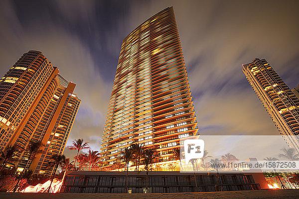 USA  Florida  Miami  Illuminated skyscrapers at beach