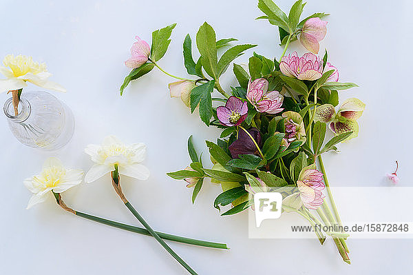 Bouquet of spring flowers on table