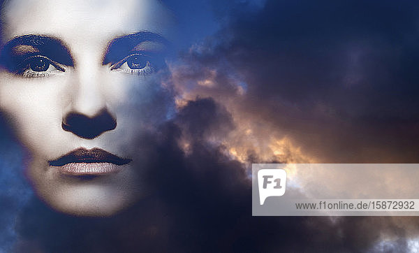 Double exposure of woman and overcast sky
