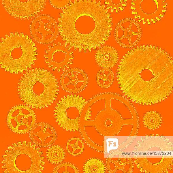 Illustration of cogs on orange background Illustration of cogs on orange background