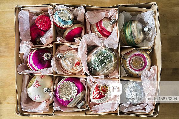 Vintage Christmas ornaments in box Vintage Christmas ornaments in box
