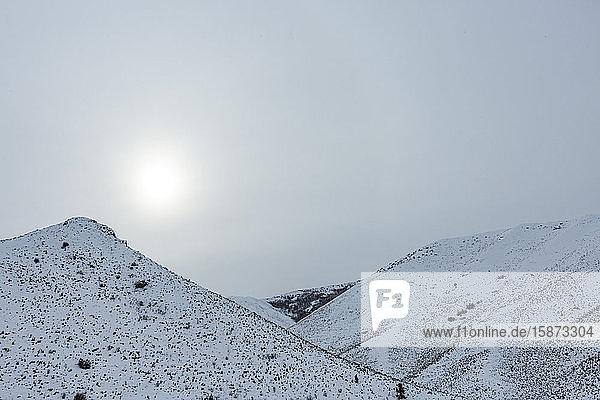 Sunset over snowy mountain