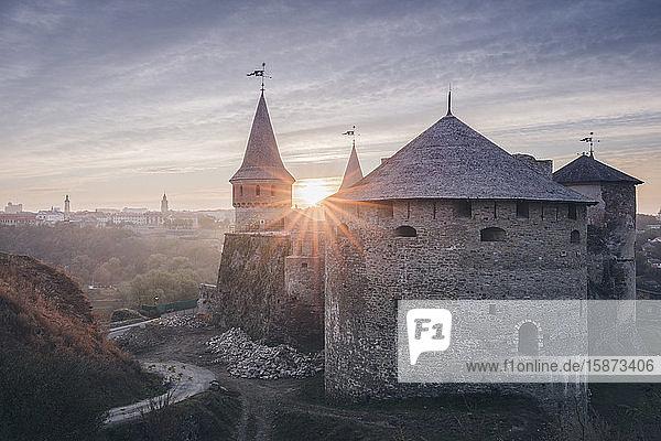 Ukraine  Oblast  Kamianets Podilskyi  Old castle in sunlight Ukraine, Oblast, Kamianets Podilskyi, Old castle in sunlight