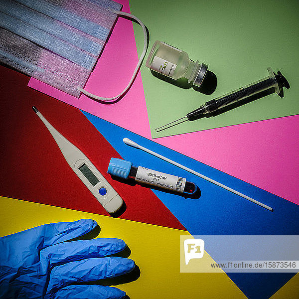 Colorful graphic layout of medical items Colorful graphic layout of medical items