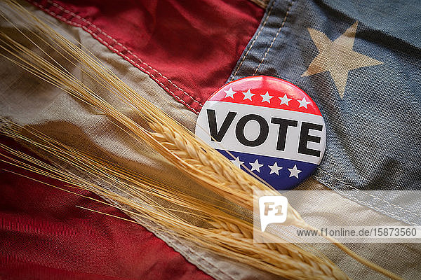 Vote button and wheat on American flag