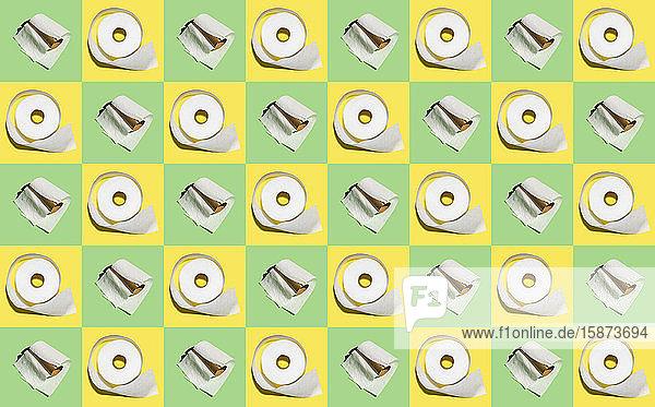 Illustration of rowsof toilet paper rolls