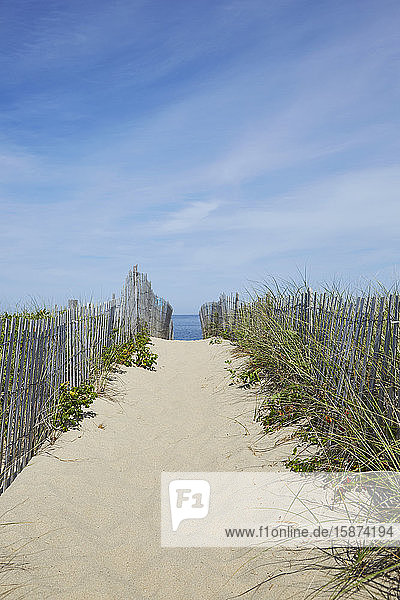 Wooden fence and path to beach Wooden fence and path to beach