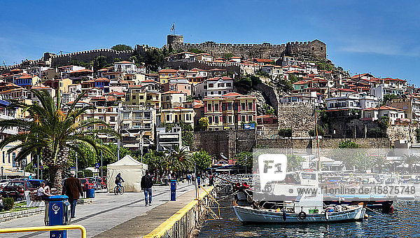 Kavala  Eastern Macedonia  Aegean Sea  Greece  The fort as seen from the Kavala Harbor pier  Kavala is a city in northern Greece  the principal seaport of eastern Macedonia and the capital of Kavala regional unit. It is situated on the Bay of Kavala  across from the island of Thasos