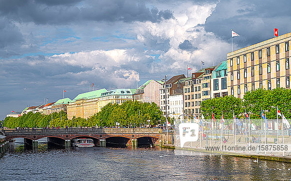 Hamburg  Germany  The hotels and palaces of Jungfernstieg street on the Alster river