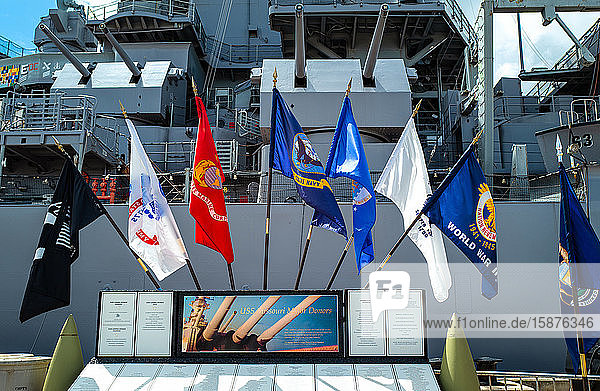 Honolulu  Hawaii  Pearl Harbor  marine and memory flags at the entrance of the Missoury Battleship