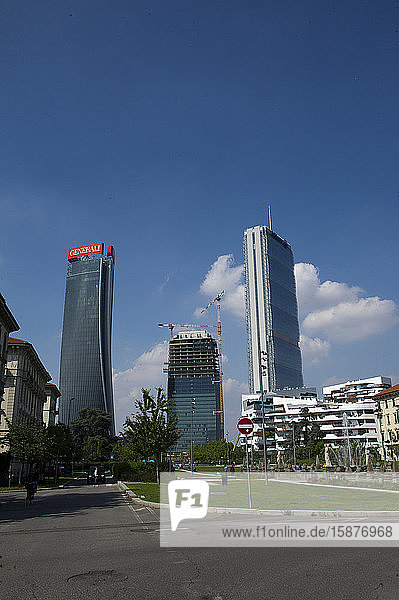 Italy  Lombardy  Milan  Milan Italy. Citylife Shopping District. Skyline  on the left Generali Tower Called Lo Storto by arch. Zaha Hadid. Right Allianz Tower Called Il Dritto dell'arch. Harata Ysozaky. In the center Torre Terza Called the Curved by Daniel Liberskind.