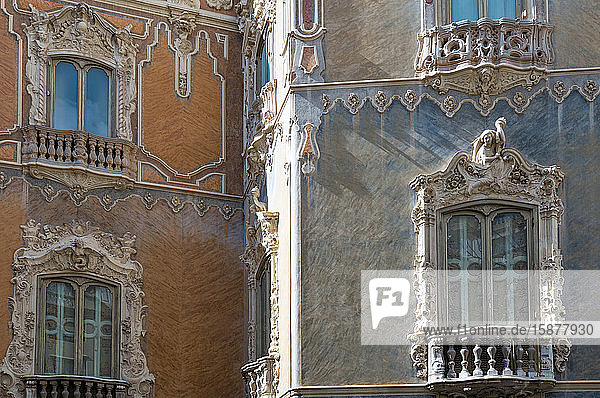 Valencia  Spain  upward view of the facade of the Gonzales Marti palace