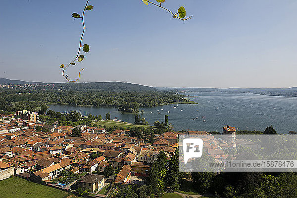 View from Rocca di Angera Borromeo fortress  Angera  Varese  Lombardy  Italy  Europe
