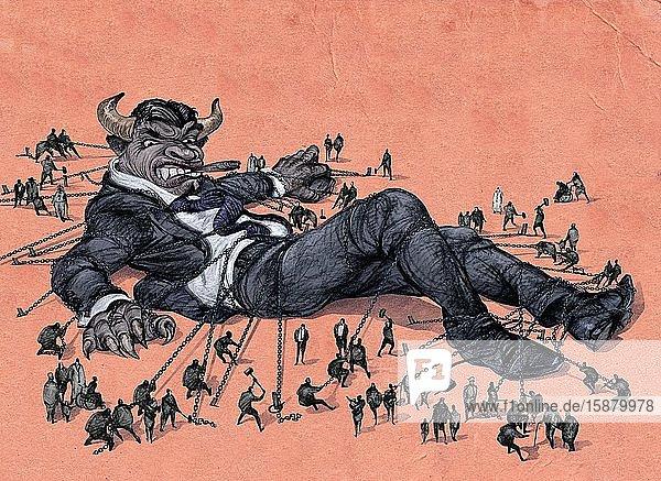 Illustration  revolt against financial power