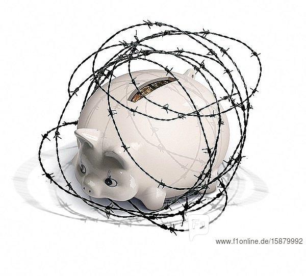 Illustration  piggy bank surrounded by barbed wire