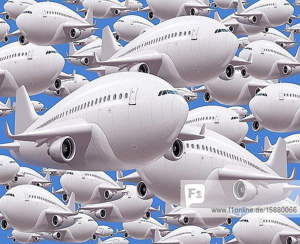 Illustration  multitude of planes in the sky