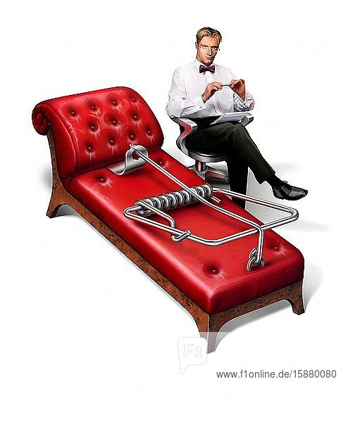 Illustration  psychoanalyst  couch mousetrap
