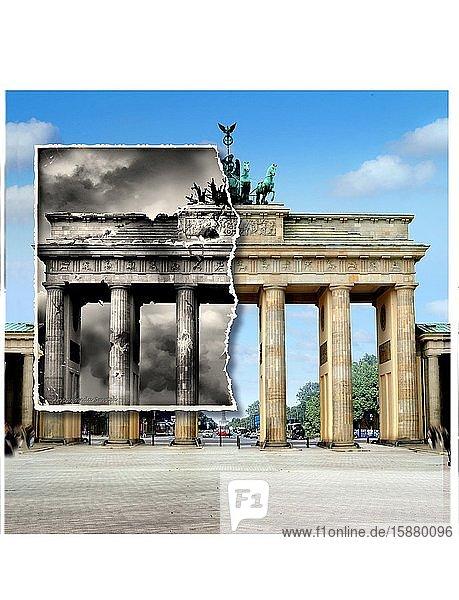 Illustration  Berlin 1945 / 2010  Brandenburg Gate