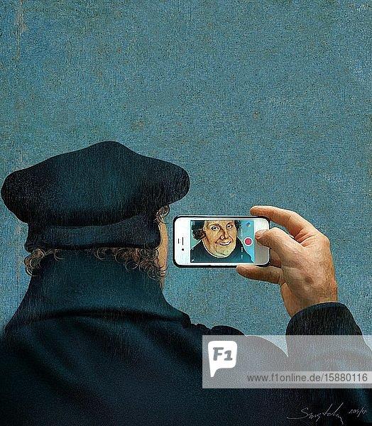Illustration  Martin Luther selfie