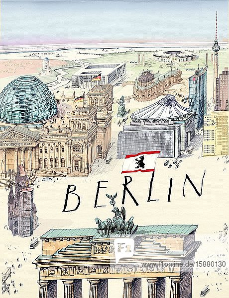 Illustration  Berlin in the style of Saul Steinberg